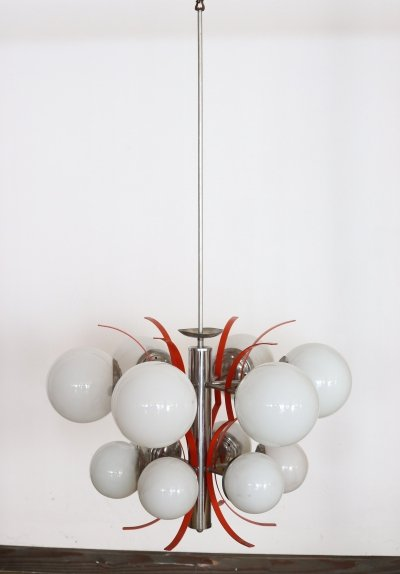 Italian Design Chandelier in Glass & Chrome Metal Chandelier, 1960s