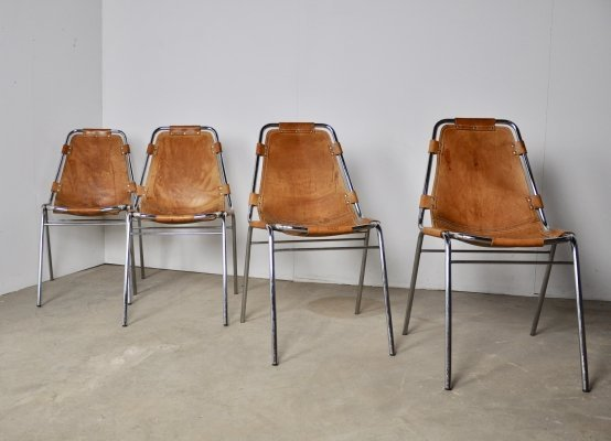 Set of 4 Les Arcs Chairs by Charlotte Perriand, 1960s