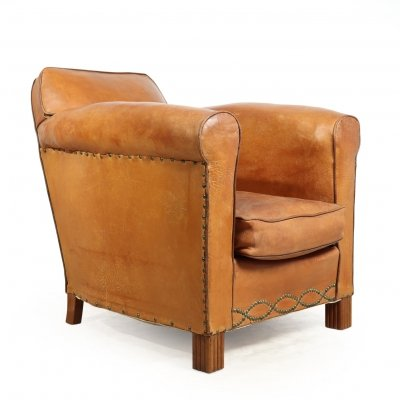 Art Deco French Leather Club chair, 1930s