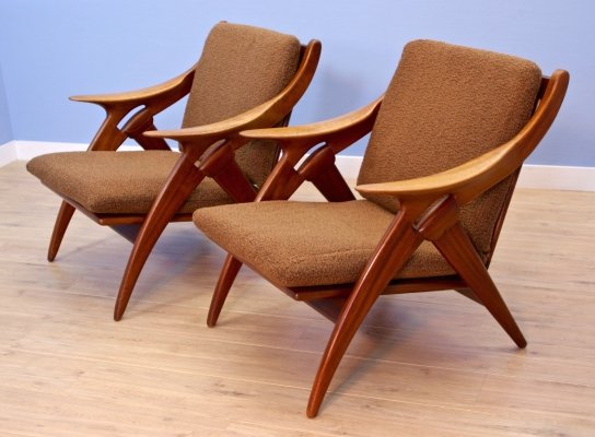 Set of 2 Dutch lounge chairs 'De Knoop' in teak by De Ster, 1960s