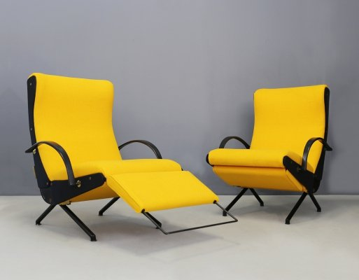 Pair of MidCentury Italian First edition P40 chairs by Osvaldo Borsani for Tecno, 1950