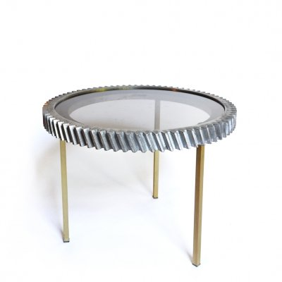 Industrial Notched Wheel Sidetable, France 1980s