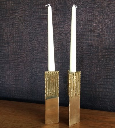 Pair of vintage 1960's Brutalist Brass Triangular Candle Holders