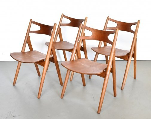 Set of 4 CH29 Sawbuck dining chairs by Hans Wegner for Carl Hansen & Søn, 1950s