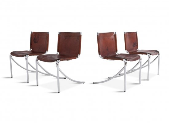 Red Leather And Chrome 'Jot' Dining Chairs by Giotto Stoppino for Acerbis, 1970s
