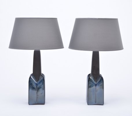 Pair of vintage stoneware lamps model 1029 with blue ceramic glazing by Soholm