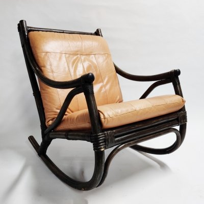 Vintage leather & rattan rocking chair, 1960s