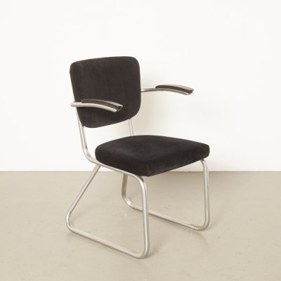 D3 Fana chromed tube frame chair in black corduroy