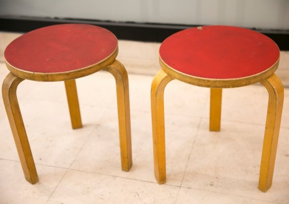 Pair of Model 60 stools by Alvar Aalto for Artek, Finland 1950's