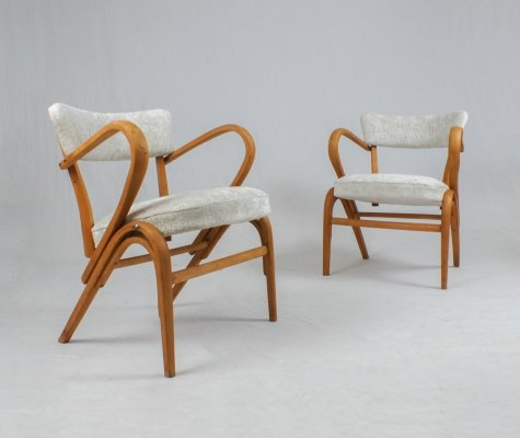 Pair of Italian bent wood lounge chairs, 1940s