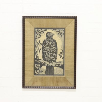 Decorative 'Eagle' Signed & Limited Linocut by F. Bose, Netherlands 1920s