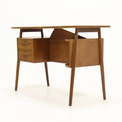 Mid-Century Danish Teak Floating Desk by Gunnar Nielsen for Tibergaard, 1960s