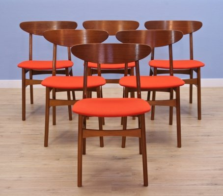 Set of 6 Danish dining chairs in teak by Falsled Møbelfabrik, 1960s