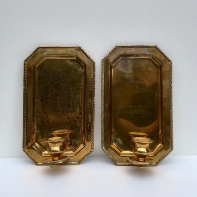 2 Mid-Century Swedish Brass Candle Sconces