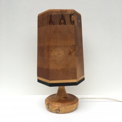 Vintage Scandinavian Solid Wood Table Lamp