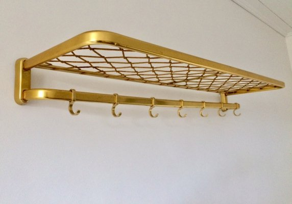 Vintage Brass Aluminium Train Coat & Luggage Rack, 1960's