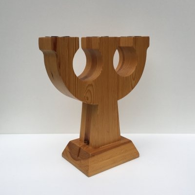 Vintage Swedish Large Pine Candle Holder