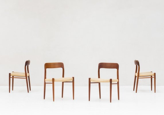 Set of 4 Model 75 dining chairs by Niels O. Møller for JL Møllers Møbelfabrik, 1950s