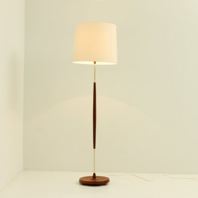 Teak & Brass Floor Lamp, 1950's