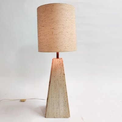 Vintage travertine table lamp by Camille Breesch, 1970s