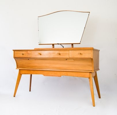 1960s Alfred Cox for AC Furniture English Sycamore Wood Dressing Table