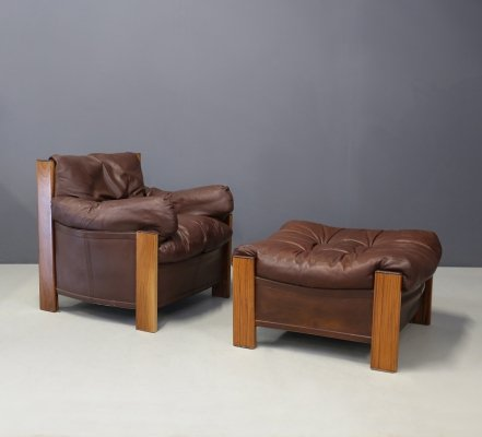 Leather 'Bergère' Chair & Ottoman by Afra & Tobia Scarpa for Maxalto, 1975s