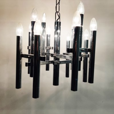 Architectural chrome candle chandelier with 10 lightpoints designed by Sciolari