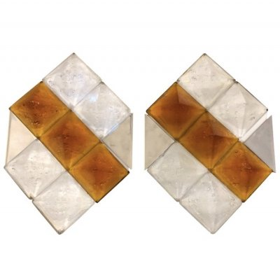 Mazzega Two Mid-Century Modern Steel & Murano Glass Wall Sconces, circa 1970