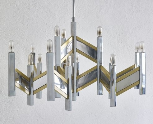 Big chrome & brass suspension by Sciolari, Italy