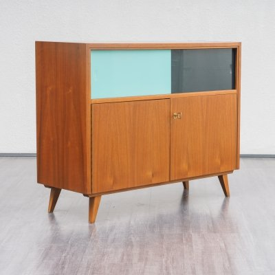 Vintage Mid Century Cabinet With Coloured Glass Sliding Doors, 1960s