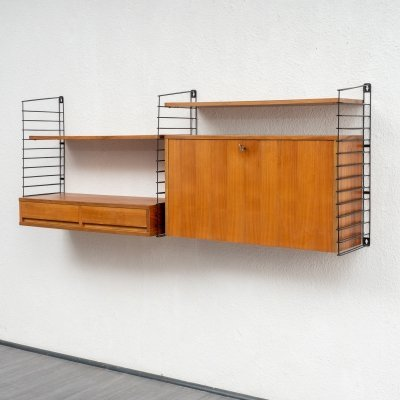 Vintage Mid Century Wall Shelf in Walnut And Metal, 1960s