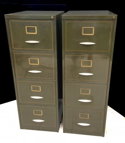 Original 1940's Olive Metal Chest of Drawers