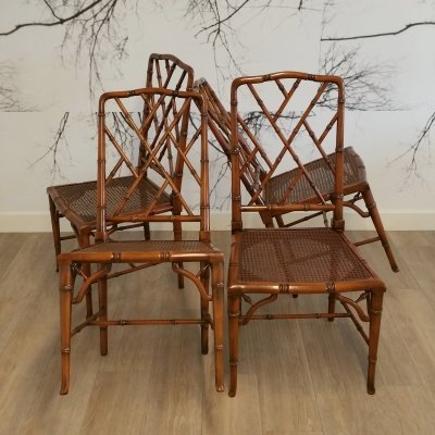 Set of 4 Faux Bamboo Chippendale Chairs, 1970s