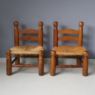 Set of 2 French Low Chairs with Rush Seat, 1950s