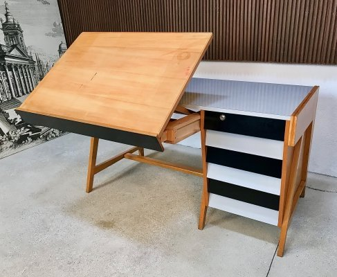 German Architect's Writing Desk With Folding Plotting Board, 1950s