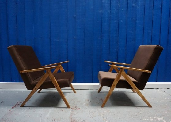 Pair of Model B 310 Var Mid Century Modern Easy Chairs in Brown Velvet, 1960s