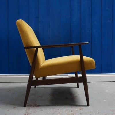 Yellow Mustard Mid Century Modern Armchair by H. Lis, 1970's