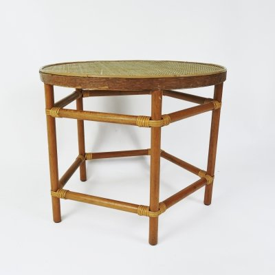 Round Top Wicker Table on a Pentagon Base, 1970s
