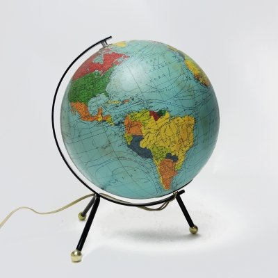 Vintage Tripod Glowing Earth Globe by Cartes Taride, 1966