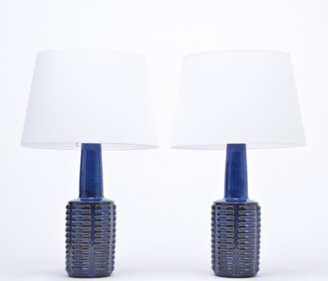 Pair of tall blue vintage stoneware table lamps by Einar Johansen for Søholm