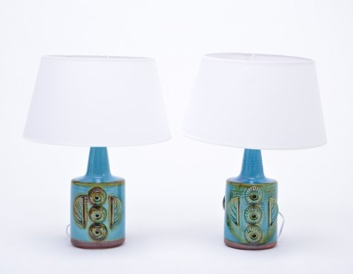 Pair of blue vintage stoneware table lamps model 1203 by Søholm