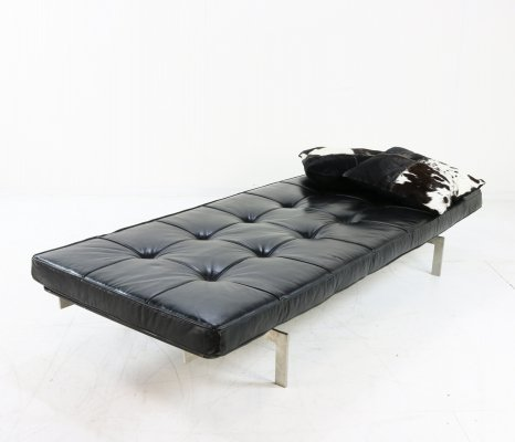 Heavy steel, wood & leather daybed, 1960s