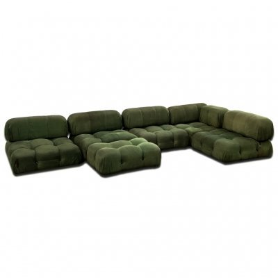 Green Velvet 'Camaleonda' 6 Modules sofa set by Mario Bellini for B&B Italia, 1972