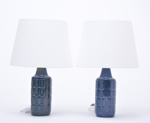 Pair of blue vintage stoneware table lamps by Einar Johansen for Søholm