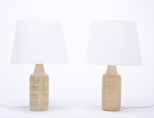 Pair of beige vintage stoneware table lamps by Einar Johansen for Søholm
