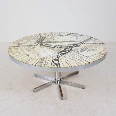 Marble Mosaic 'Carara' Round Coffee Table by Heinz Lilienthal, Germany 1960s
