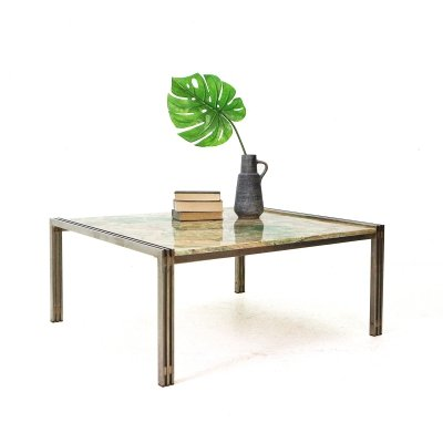 Green & beige marble coffee table, 1970s