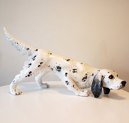 Dalmatian dog ceramic statue in hunting stance, 1980s