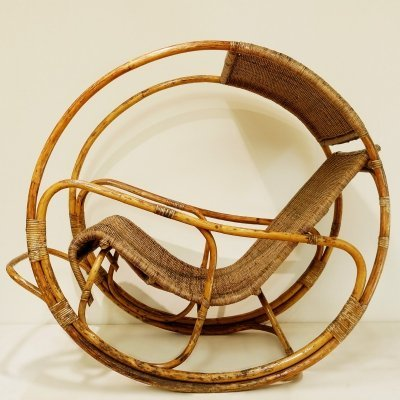 Rattan And Wicker Circle Rocking Chair, 1960s
