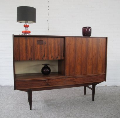 Vintage Danish rosewood highboard with sliding door, 1960's